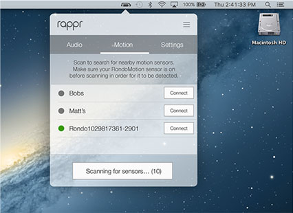 RAPPR Sensor Settings view